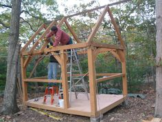 how to build a tiny house with timberframe construction. Lots of play house idea's from these little cabins...sheds.
