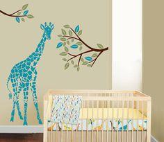 tree giraffe decal Vinyl Wall Decal baby nursery room by Stars1986