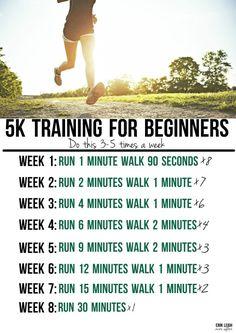 8 week training schedule for beginners #5K #Training #Marathon
