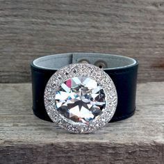 Real Leather Bracelet with Swarovski Crystals by SteelJewelryShop on Etsy
