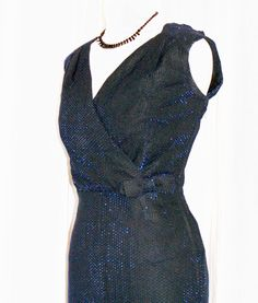 Vintage 1950s sparkly blue black lurex hourglass cocktail wiggle dress S M rockabilly VLV by OuterLimitz on Etsy
