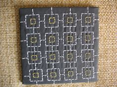 Sashiko-stitched tile with retro pattern...$26 | Constitutionally Modern DIY