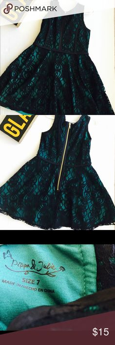 Pippa and Julie Lace & Tulle Dress (Big Girls), 7 Pippa and Julie Lace & Tulle Dress (Big Girls), Size 7, Green and Black, Lovely lace stuns the top bodice of a tulle and ruffle hem sleeveless dress. Pippa & Julie Dresses Formal