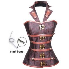 Style your steampunk look with the ATOMIC RENAISSANCE INSPIRED STEEL BONED HALTER CORSET, pantaloons and the right time warp boots. #atomicjaneclothing