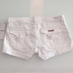 "Hudson Hampton Cuffed Short Shorts White Hudson denim shorts. New with tags! Never worn! Super cute! Size 28. Inseam measures 2"" and waistband to bottom of cuff is 10"". Material is 98% cotton 2% elastan. No trades. Thank you! Hudson Jeans Shorts Jean Shorts"