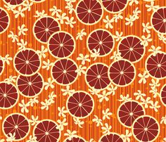 Blood Orange Allegria fabric by siya on Spoonflower - custom fabric - gertie's tiki dress option