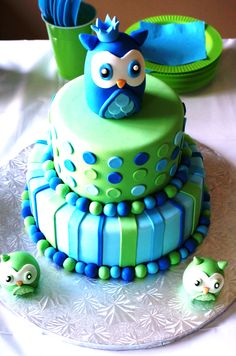 Owl Themed Boy Baby Shower using greens and blues.