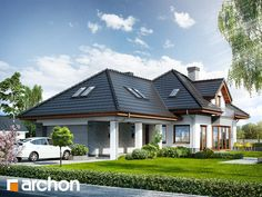 Dom w sanwitaliach - wizualizacja 1 Dream House Plans, My Dream Home, Modern Bungalow House, Indian Home Design, Cottage Style Homes, Facade House, Cabin Homes, Home Fashion, Home Interior Design
