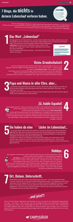 Infografik: Diese 7 Fehler solltest du in deinem Lebenslauf vermeiden The Effective Pictures We Offer You About career options A quality picture can tell you many things. You can find the most beautif Cv Inspiration, Thats The Way, New Job, Things To Know, Personal Branding, Better Life, Good To Know, Life Hacks, Coaching
