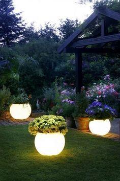 Glow in the dark paint on terracotta pots.