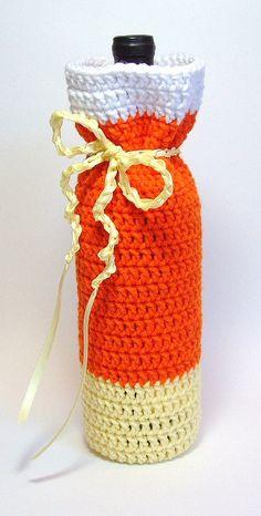 Crochet Candy Corn Wine Bag Bottle Cozy  - Etsy $17.00