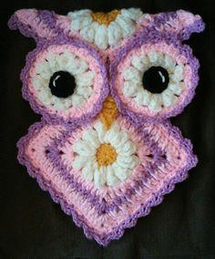 Crochet Easter owl Potholder pattern only