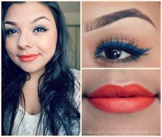 Blue liner with red lipstick - Google Search