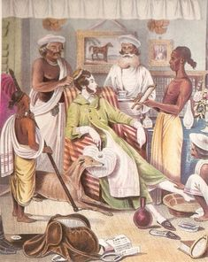 Indian Servants Attending to a British Officer. English officers and their families lived lavish lifestyles thanks to abundant resources and cheap labor. (Kamat Research Database)