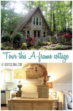 Tour this Lovely A-frame Cottage, Nestled in the Woods. I would cut the size in half for an eco friendly tiny cottage D House, Cozy House, Cute Cottage, Cottage Style, Cottage Living, Cottage Homes, Cabana, A Frame House, Cabins And Cottages