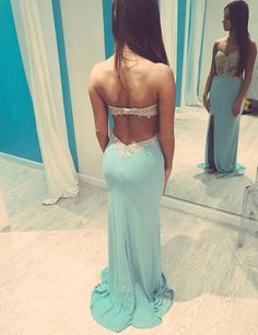 Fashion Sweetheart Appliques Long Light Blue Prom Dress With Split