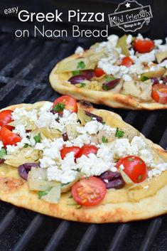 The best Greek Pizza Recipe. Easy to make on Naan (flatbread). Loaded with hummus, Feta cheese, Greek Olives, Delicious Artichokes and more. It's so easy to make and sure to be a big hit! www.kidfriendlythingstodo.com #greekpizza #pizza #grilled #easy #best #hummus #feta