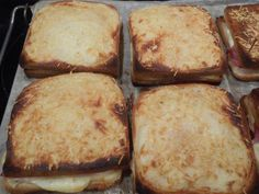 muscade, poivre, lait, beurre, jambon, Fromages, pain de mie, sel, gruyère râpé