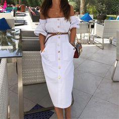 Gagaopt 2016 Brand Women Autumn Dress Long Office Party Robe Sexy White Off Shoulder Cotton Pocket Short Sleeve Vestidos D0889