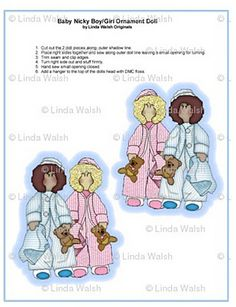 """Baby Nicky Boy & Girl Cut and Sew Ornament Fabric by """"It's Raining Baby Showers"""""""