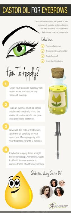castor oil for eyelashes infographic Castor oil is effective for thickening and regrowing hair. But In this article we present you the fascinating feature of castor oil for eyelashes growth. Oil For Eyelash Growth, Castor Oil For Hair Growth, Castor Oil Eyebrows, Beauty Care, Beauty Hacks, Diy Beauty, Beauty Stuff, Castor Oil Benefits, Castor Oil Uses