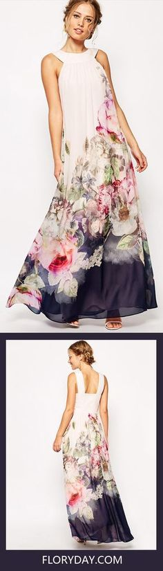 All women's dresses, in every age and country, are merely variations on the eternal struggle between the admitted desire to dress and the un-admitted desire to undress. While, don't you think this Chiffon Floral Sleeveless Maxi Dresses fits all the points?
