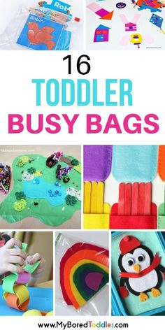 Toddler Busy Bags - a collection of busy bags for one and two year olds. Quiet bin activities for toddlers. Easy and simple activities for toddlers to keep them busy when you need them to be quiet and entertained. #travelfortoddlers