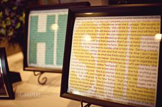 Bride & Groom list the things they love about the other and then it is displayed at the reception...So sweet!