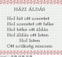 Keresztszemes Házi áldás 10-42minta Techno, Charts, Cross Stitch, Words, Color, Graphics, Punto De Cruz, Seed Stitch, Colour
