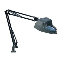 This would be great for a puzzle table. Adjustable desk lamp with a magnifying glass feature. Product: Desk lampConstruction Material: Steel, plastic and glassColor: Black Features: Magnifying Accommodates: 60 Watt bulb - not includedDimensions: H x W x D Light Fixtures Bedroom Ceiling, Arts And Crafts Furniture, Lamps For Sale, Black Lamps, Sewing Studio, Lamp Light, The Help, Table Lamp, Desk Lamp