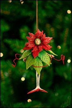 Krinkles by Patience Brewster 2010 Poinsettia Girl Ornament