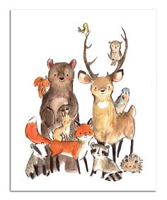 Animal Illustration Children's Art WILD Archival Art Print by trafalgarssquare Animal IllustrationSource : Children's Art WILD Archival Art Print by trafalgarssquare by Kampfkruemel Forest Animals, Woodland Animals, Woodland Forest, Woodland Room, Woodland Nursery Prints, Baby Animals, Cute Animals, Illustration Mignonne, Art Mignon