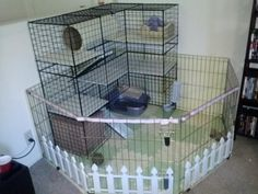 Sweet bunny condo from: NIC condo distress! - Page 2 - Rabbits Online. Maybe I can do this for a chinchilla with moderations. Diy Bunny Cage, Bunny Cages, Rabbit Cages, House Rabbit, Pet Rabbit, Indoor Rabbit Cage, Chinchilla, Pet Ferret, Rabbit Habitat