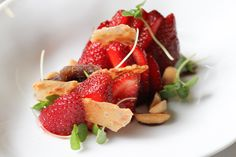 The Cafe at The Ritz Carlton, Buckhead's Strawberry Salad..strawberries with lemon, balsamic and toasted nuts