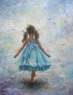 Aqua Blue Girl Original Oil Painting 14X18 by VickieWadeFineArt