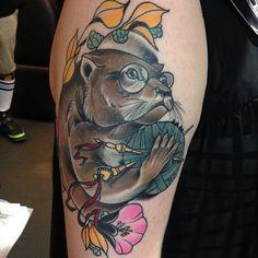 Knitting otter tattoo. Instagram: jaynedoetattoo Jayne Doe Custom tattoos Hornchurch, Essex, UK Info@jaynedoetattoo.com 01708 479366  http://jaynedoetattoo.com