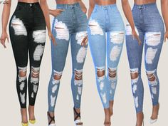 The Sims 4 Sunset Denim Ripped Jeans 017 Sims 4 Teen, Sims 4 Toddler, Sims Four, Sims Cc, Sims 4 Mods Clothes, Sims 4 Clothing, Vêtement Harris Tweed, Vetements Clothing, Sims 4 Dresses