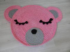 Crochet bear rug Pink bear rug Crochet rug Pink nursery rug