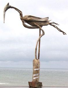 Driftwood Bird Sculpture by Jaye Ouellette Driftwood Fish, Driftwood Sculpture, Bird Sculpture, Sculptures, Ribbon Sculpture, Driftwood Christmas Tree, Diy Christmas Tree, Driftwood Projects, Beach Wood