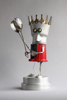 Spork 1 - found object robot assemblage sculpture by brian Marshall
