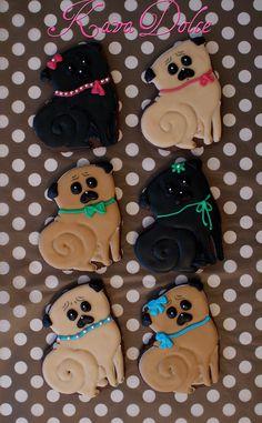 Pug decorated sugar cookies. Royal icing. Fawn, black.