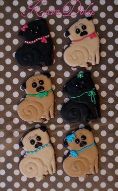 Pug decorated sugar cookies. Royal icing. Fawn, black.