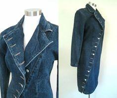 Denim Acid Washed Fitted Dress Coat by rileybellavintage on Etsy, $55.00