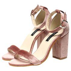 Velvet Block Heel Sandals (€39) ❤ liked on Polyvore featuring shoes, sandals, velvet shoes, heeled sandals, colorblock shoes, color block sandals and block-heel sandals