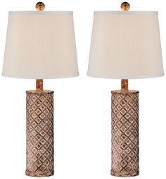 Gisele Gold Wash Lattice Column Table Lamp Set of 2 - - Amazon.com