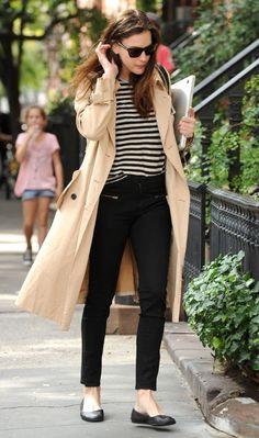 Black + stripes + trench + flats on Liv Tyler in New York.