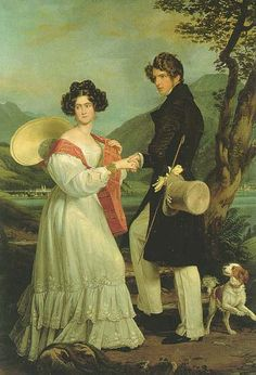 Duke Maximilian and Duchess Ludovika in Bavaria with pet dog.  She was the mother of 10 children, including the Empress Elisabeth of Austria, wife of Emperor Franz Josef of Austria.