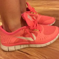 Nike 5.0 Frees Slightly worn, but in great condition still. Great coral color. Vibrant shoe. Very comfortable. Nike Shoes Sneakers