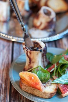 Roasted Bone Marrow with Citrus Salad | A delicious and decadent starter to a special dinner at home or a tapas party.