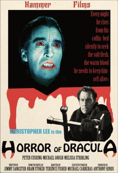 The Horror of Dracula.Christopher Lee, my fave Dracula :) There is just something shivery about the old horror movies. Halloween Movies, Scary Movies, Old Movies, Vintage Movies, Hammer Horror Films, Hammer Films, Horror Movie Posters, Movie Poster Art, Frankenstein